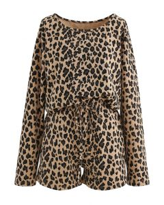 Leopard Print Long Sleeves Top and Drawstring Shorts Set