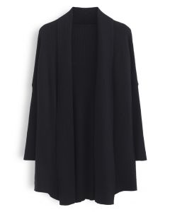 Basic Rib Knit Drape Neck Cardigan in Black