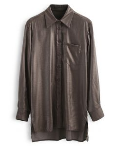 Glitter Button Down Split Hi-Lo Shirt in Brown