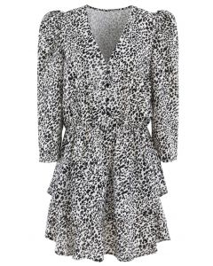 Animal Print Puff Sleeves Tiered Hem Mini Dress