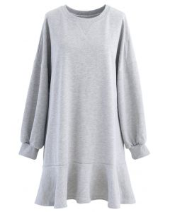 Ruffle Hem Sleeves Shift Mini Dress in Grey