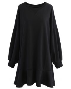 Ruffle Hem Sleeves Shift Mini Dress in Black