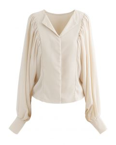 Batwing Puff Sleeves Crop Shirt in Cream