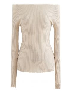 Fitted Off-Shoulder Ribbed Knit Top in Cream