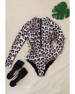 Cheetah Print Long Sleeves Zipper One-Piece Swimsuit