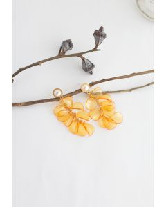 Pearl with Plastic Petal Drop Earrings in Orange