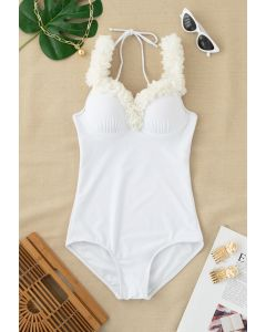 Mesh Flower Straps Halter One-Piece Swimsuit in White