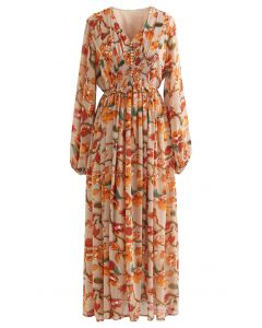 Flower Fairyland Button Shirred Chiffon Maxi Dress