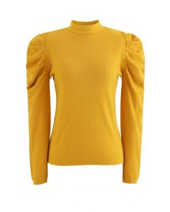 Mock Neck Bubble Sleeves Knit Top in Yellow