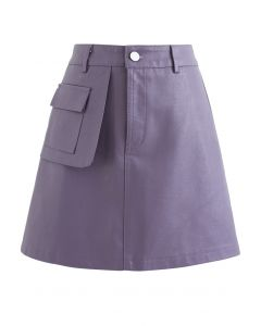 Pocket Faux Leather Texture Skirt in Lilac