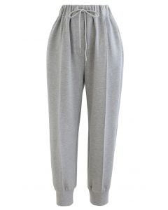 Drawstring Tapered Joggers in Grey