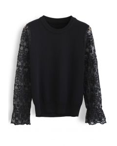 Embroidered Posy Mesh Sleeves Knit Top in Black