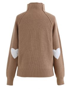 Heart and Soul Patched Knit Sweater in Caramel