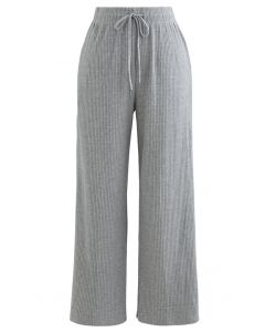 Cropped Wide-Leg Drawstring Knit Pants in Grey