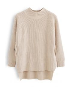Button Side Hi-Lo Knit Sweater in Light Tan