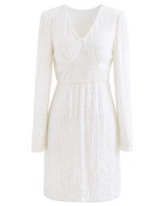 Shimmer Sequin Padded Shoulder Mesh Dress in Pearl White