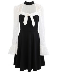 Lace Panel Bowknot Halter Flare Dress