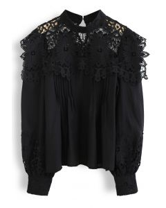 Sunflower Crochet Inserted Smock Top in Black