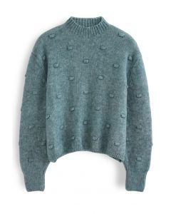 3D Dot High Neck Knit Sweater in Green