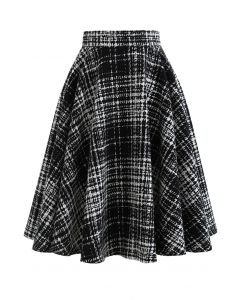 A-Line Black and White Plaid Pattern Skirt