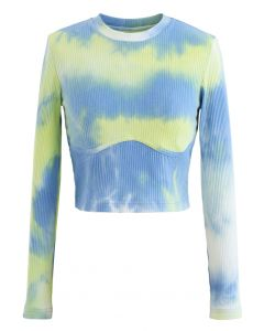 Cotton Long Sleeves Yellow Tie Dye Crop Top