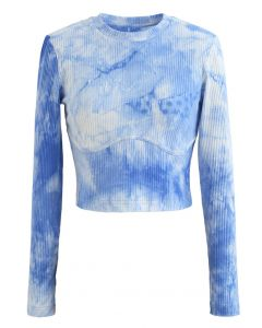 Cotton Long Sleeves Blue Tie Dye Crop Top