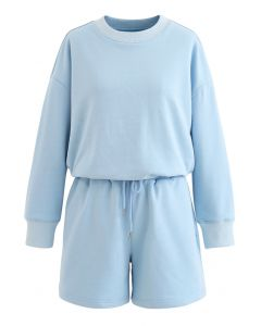 Round Neck Sweatshirt and Drawstring Shorts Set in Sky Blue
