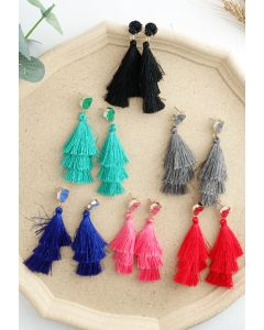 Tiered Tassels Gem Drop Earrings