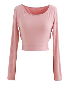 Self-Tie Waist Long Sleeves Cropped Sports Top in Pink