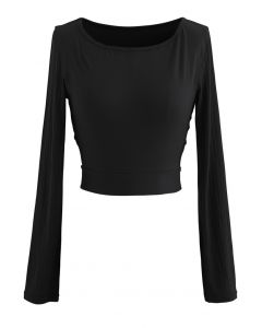 Self-Tie Waist Long Sleeves Cropped Sports Top in Black