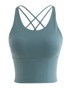Crisscross Strappy Cropped Sports Bra in Dusty Blue