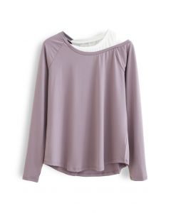 Cold Shoulder Fake Two-Piece Sports Top in Lilac