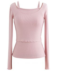 Two-Piece Lettuce-Hem Knit Top in Pink