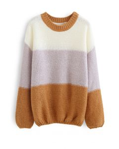 Block Striped Oversize Knit Sweater in Caramel