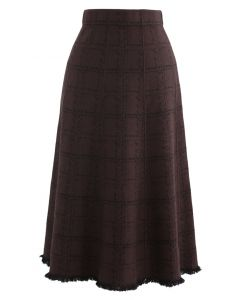 Grid Fringe Hem Knit Skirt in Brown
