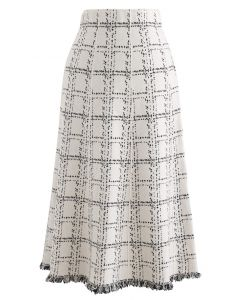 Grid Fringe Hem Knit Skirt in Ivory