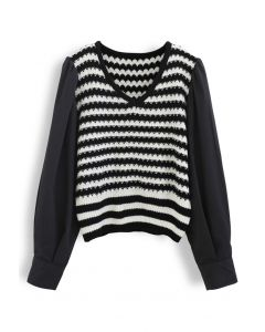 Cotton Sleeves Striped Knit Sweater in Black