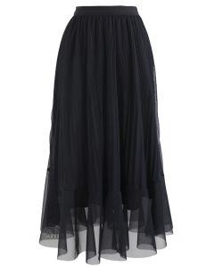 Lightsome Chiffon Pleated Midi Skirt in Black
