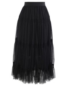 Shirred Elastic Double-Layered Mesh Skirt in Black