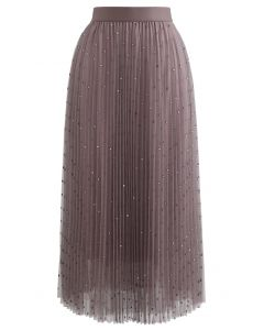 Glitter Dots Double-Layered Pleated Tulle Mesh Skirt in Berry