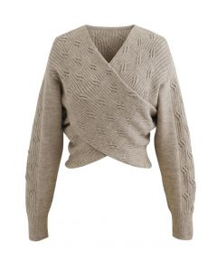 Crisscross Crop Ribbed Knit Sweater in Taupe