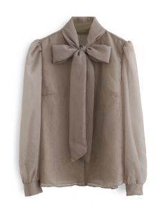 Sheer Bowknot Button Down Shirt in Taupe