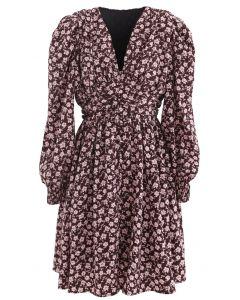 Padded Shoulder Floret Printed V-Neck Dress in Wine