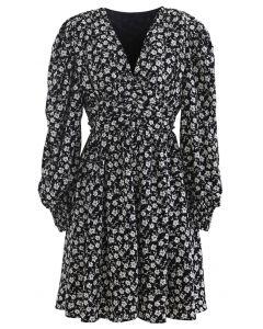Padded Shoulder Floret Printed V-Neck Dress in Black
