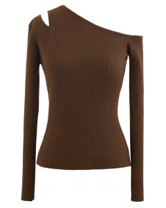 Asymmetric Cut Out Cold-Shoulder Fitted Knit Top in Brown