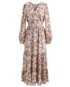 Drawing Floral Print Wrap Chiffon Dress in Dusty Pink
