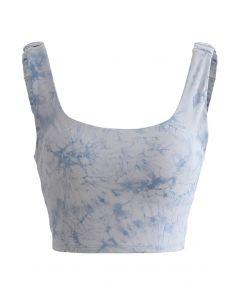 Tie-Dye Elasticated Cutout Back Sports Bra in Blue