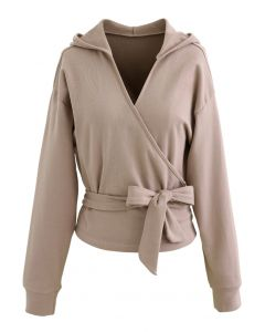 Self-Tied Front Cropped Hoodie in Tan
