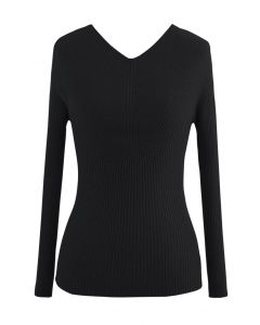 Seamless V-Neck Ribbed Knit Top in Black