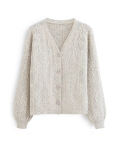 Braid Buttoned Fuzzy Knit Cardigan in Ivory
